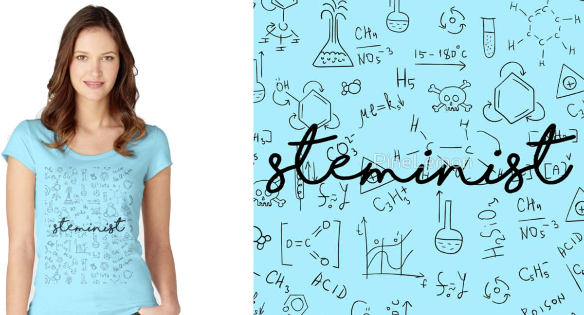Women's Fitted Scoop T-Shirt STEMinist Blue Print