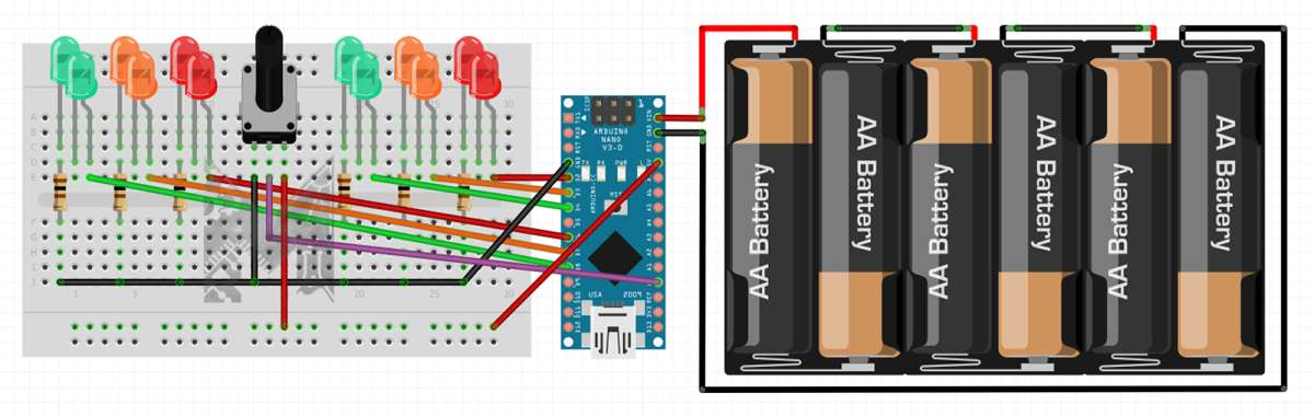 Breadboard Layout Fritzing for Adjustable Traffic Lights