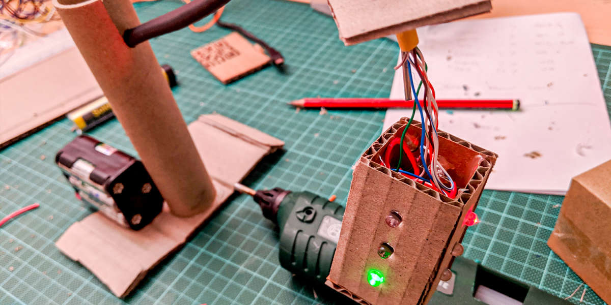 Cardboard Arduino Traffic Lights Almost Complete