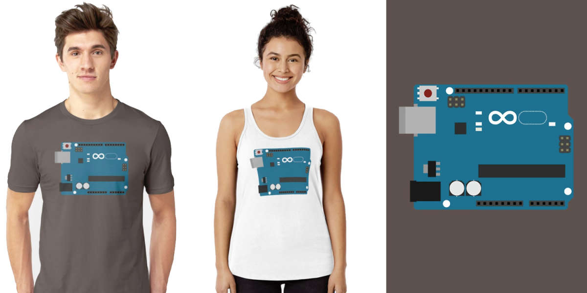 Arduino Uno Board on a T-Shirt and Tank Top