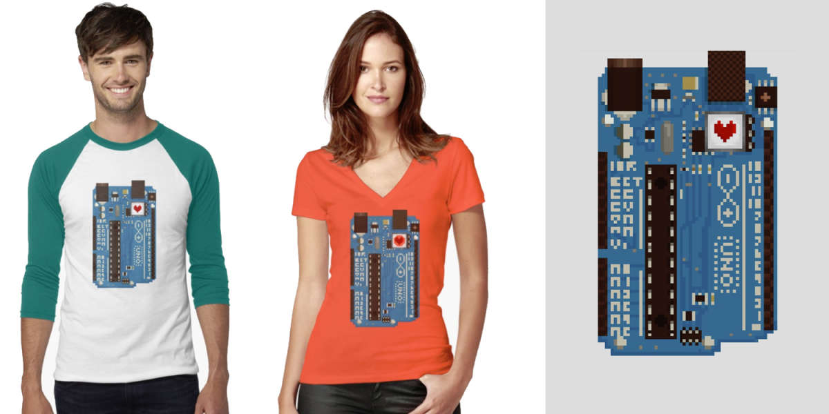 Buy Arduino Heart Pixel Shirts