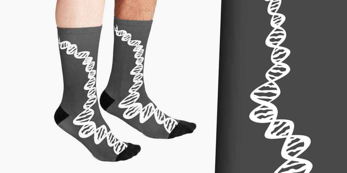 DNA strand - white Socks